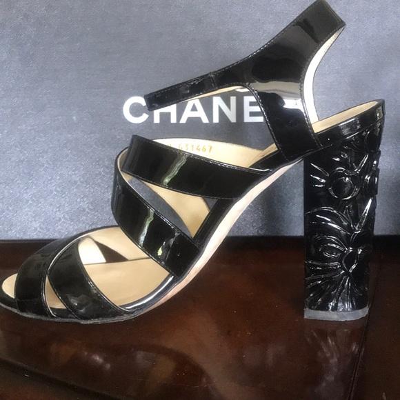 5570945c81 CHANEL Shoes   Black Patent Cc Logo Flower Heel Sandals   Poshmark